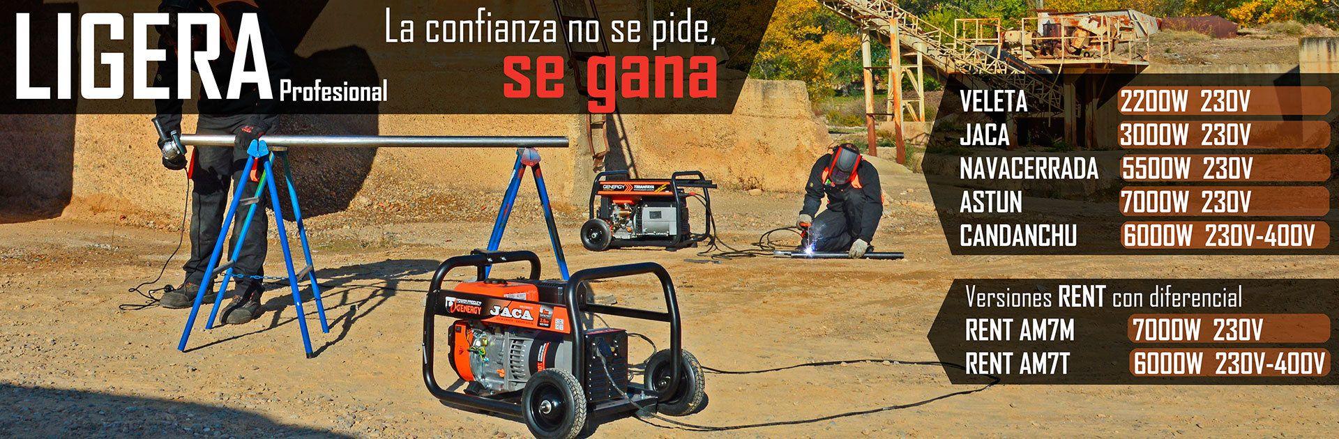 Generadores electricos Genergy de la gama ligera profesional